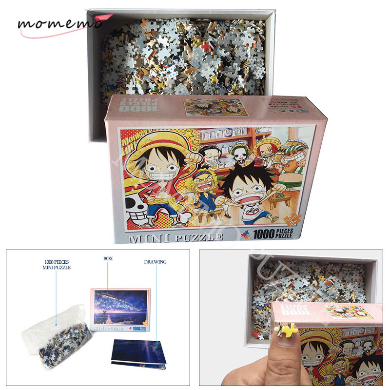 MOMEMO Cute ONE PIECE Cartoon Puzzles For Adults 1000 Pieces Wooden Anime Jigsaw Puzzle Adult Kids DIY Education Puzzle Toy Gift