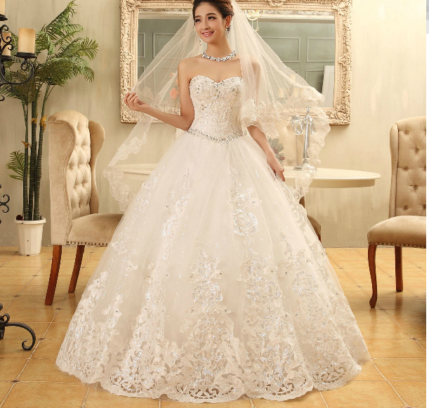 Popular Lace and Diamonds Wedding Dress-Buy Cheap Lace and ...