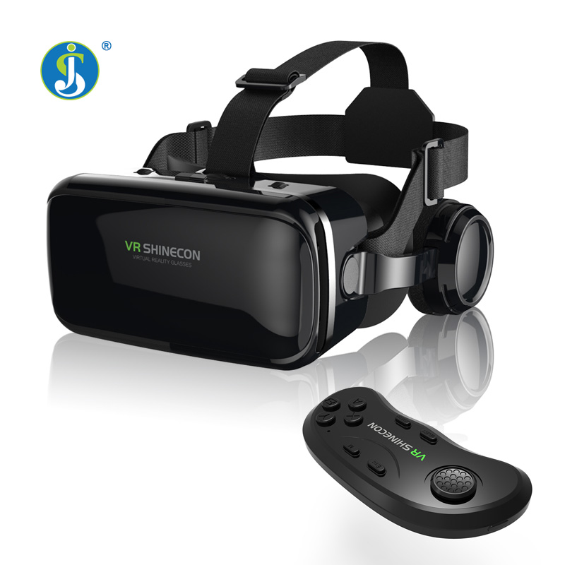 JSLINTER X6 Plus Virtual Reality Glasses 3D 360 Degree Google Cardboard Bluttooth Headset with 40mm Lens