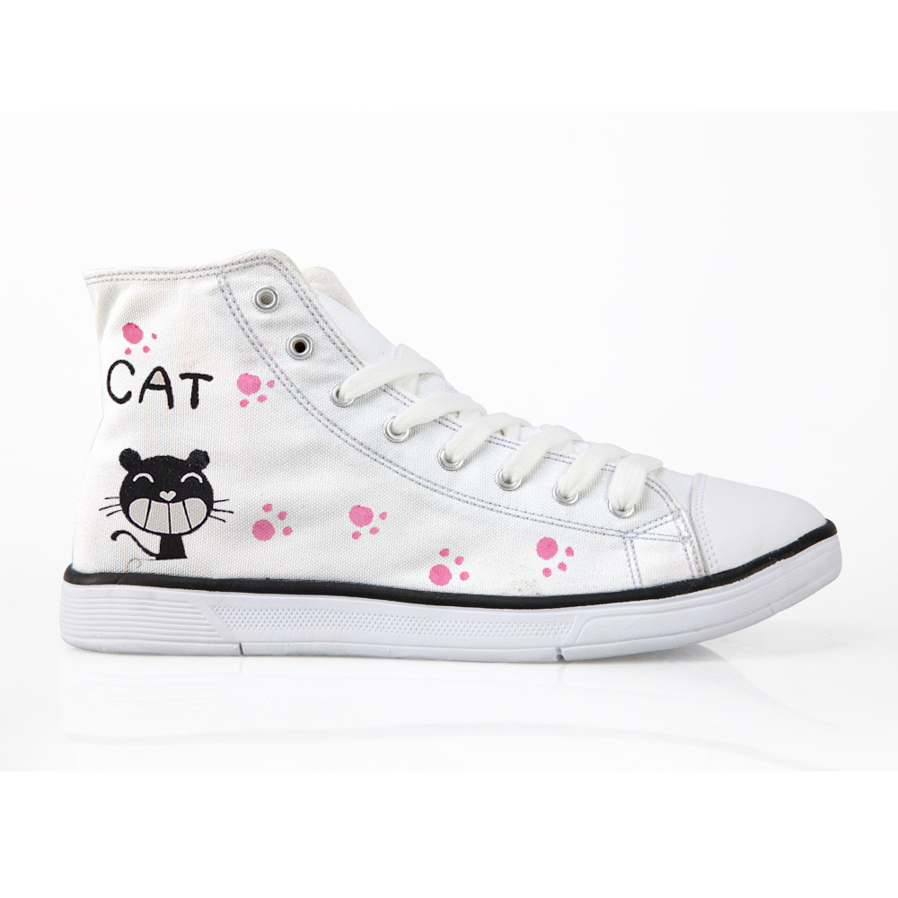 97830d4b8 Super Cute Cartoon Style Cat Painted Canvas Shoes School Girls Fashion  Sneakers Espadrilles High Top Autumn Board Lace Up Flats