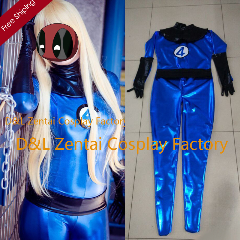 Free Shipping DHL Adult Blue Fantastic Four Shiny Metallic Superhero Zentai Catsuit Dress Halloween Costume FT1420