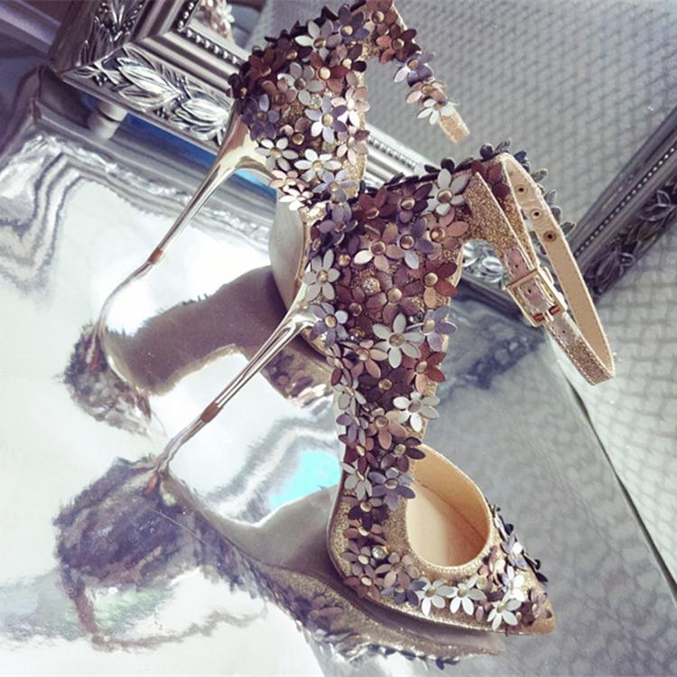Paillettes tissu fleur décor pompes bout pointu parti stiletto chaussures nighe club mariage mariée femme brillant chaussures spécial chaussures - 6