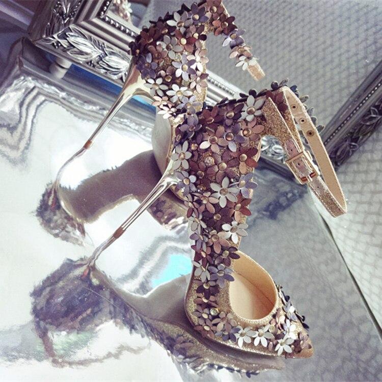 Zapatos brillantes para mujer, zapatos de novia, club de noche, calzado especial, zapatos con puntera para fiesta, zapatos con lentejuelas y decoración de flores - 6