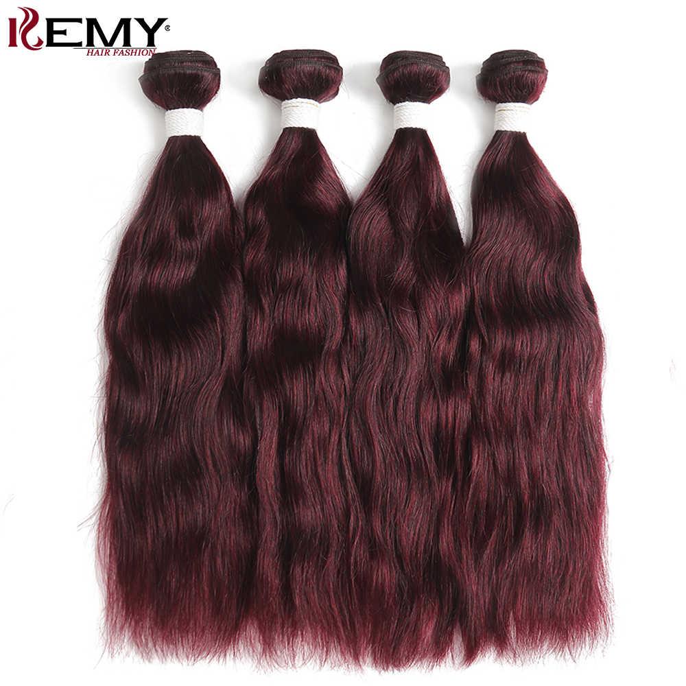 99J/бордовый естественная волна человеческих волос Комплект kemy Hair 2/3/4 шт. бразильские Пряди человеческих волос для наращивания Ombre Человеческие волосы рыжие волосы Bundes