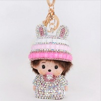 Monchichi Sleutelhanger Rhinestone Monchhichi Gold Metal Keychain Creative Crystal Key Holder Ring Bague Porte Clef Fourrure