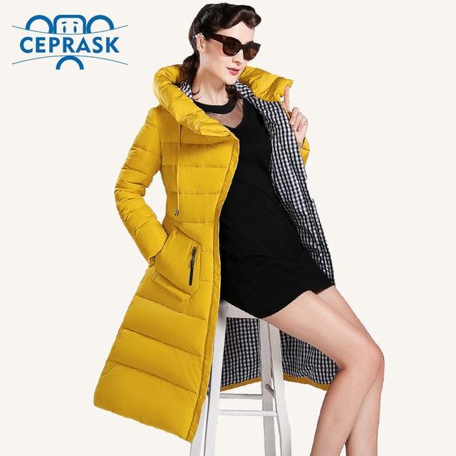 Ceprask 2018 الجديدة الشتاء سترة المرأة زائد حجم طويلة المألوف المرأة معطف الشتاء مقنعين عالية الجودة الدافئة أسفل سترة سترة