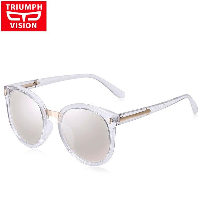 9162cf1fe1b44 TRIUMPH VISION gafas de sol polarizadas espejo redondo mujeres Vintage  Shades mujer Lunette gafas de sol