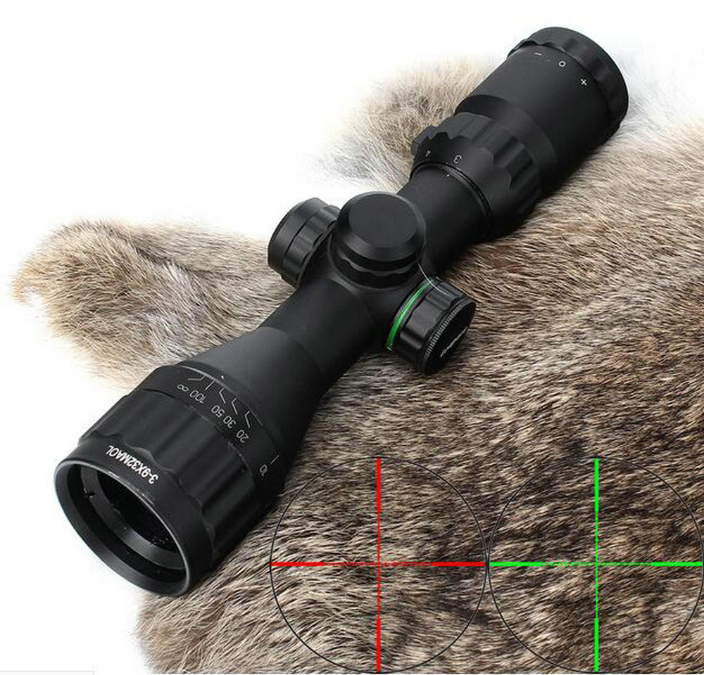 Hunting Optics 3-9x32 AO Compact Mil Dot Red Green Illuminated Reticle Riflescopes with Sun Shade Tactical Rifle Scope compact m7 4x30 rifle scope red green mil dot reticle with side attached red laser sight tactical optics scopes riflescope