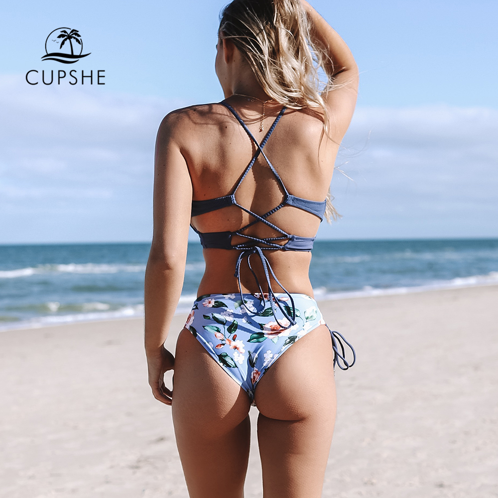 CUPSHE Sexy Blue And Floral Lace Up Bikini Sets Women Boho V neck Two Pieces Swimsuits CUPSHE Sexy Blue And Floral Lace-Up Bikini Sets Women Boho V-neck Two Pieces Swimsuits 2019 Girl Beach Bathing Suit Swimwear