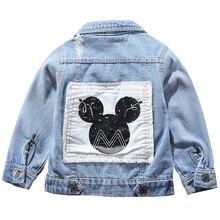 어린이 미키 데님 재킷 코트 2020 새로운 봄 가을 어린이 패션 겉옷 소년 소녀 구멍 만화 청바지 코트 2 7 Yrs