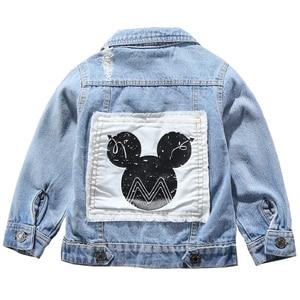 Image 1 - Children Mickey Denim Jacket Coat 2020 New Spring Autumn Kids Fashion Outerwear Boys Girls Hole Cartoon Jeans Coat For 2 7 Yrs