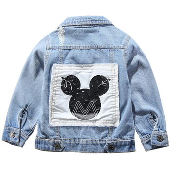 Children Mickey Denim Jacket Coat 2020 New Spring Autumn Kids Fashion Outerwear Boys Girls Hole Cartoon Jeans Coat For 2-7 Yrs цена 2017