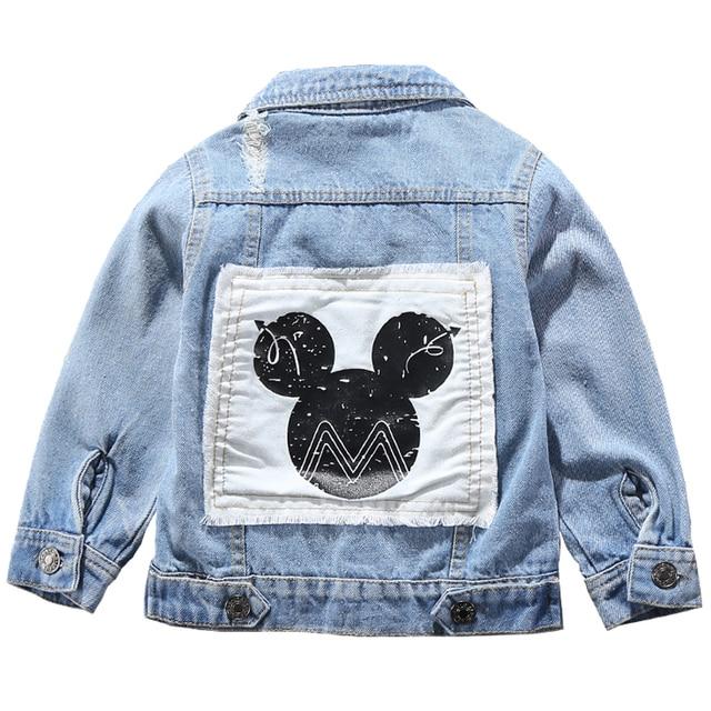 Children Mickey Denim Jacket Coat 2020 New Spring Autumn Kids Fashion Outerwear Boys Girls Hole Cartoon Jeans Coat For 2 7 Yrs