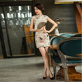 2016 British Style Short Cheongsam Dress Cotton Oriental Dresses Vintage Chinese Traditional Dress Plus Size Modern Qipao Dress