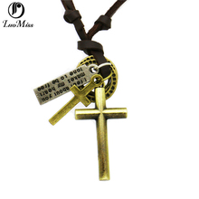 Real Leather Necklace Jewelry For Women men,Vintage Antique Bronze Necklaces Crown key Cross Circle Pendants Jewelry Gift crown key style cow leather necklace bronze dark brown