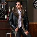 Мужской Кожаный мех верхняя одежда Европейский Стиль Одежды овчины Зимний мужской меховой воротник флис выстроились Искусственного Кожаная куртка Теплое Пальто