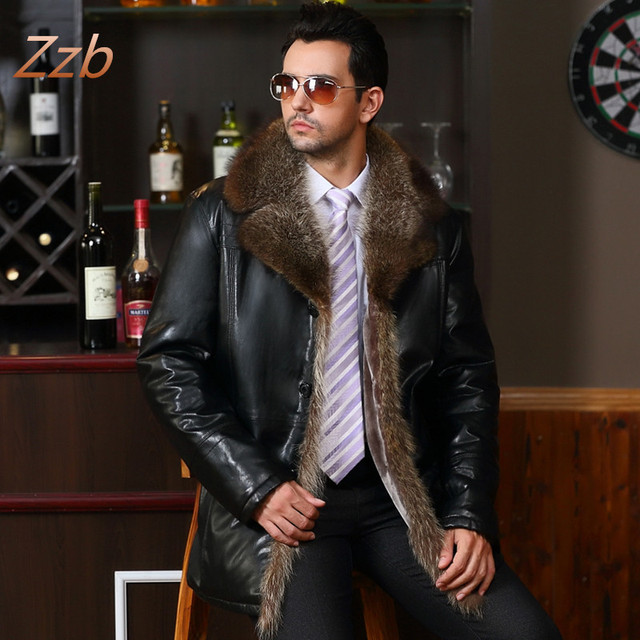 Male Leather fur outerwear  European Style Clothing sheepskin Winter Men's fur collar fleece lined Faux Leather jacket Warm Coat