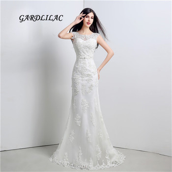 New Stock White Plus Size Mermaid Lace Wedding Dresses 2019 Sexy Wedding Party Dress with Belt Vestido de noiva Long Prom Gown
