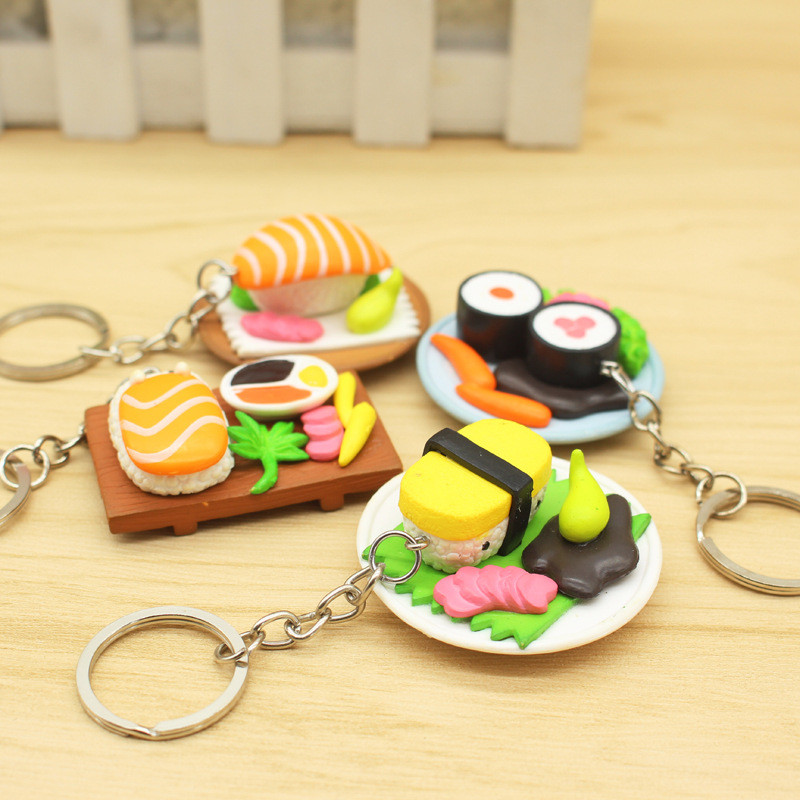New Mixed Simulation Of Japanese Cuisine PVC keychain Cute Mini Sushi Anime key chain For Woman Hangling Accessories 4pcs
