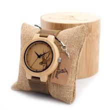 BOBO BIRD мужская Натурального Бамбука и Дерева Часы Простой Дизайн Оленей Мужчин Лучший Бренд Деревянный Бамбука Наручные Часы