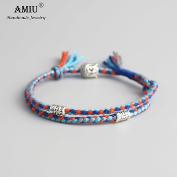 AMIU Tibetan Buddhist Lucky Woven Amulet Tibetan Cord Bracelets & Bangles Handmade 2