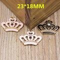 Lo nuevo 23*18 MM Gota de Aceite Princess Crown Encantos Pendientes De la Aleación Decoradas con Diamantes de Imitación Goldtone Del Esmalte Del Metal de DIY Encantos de la joyería