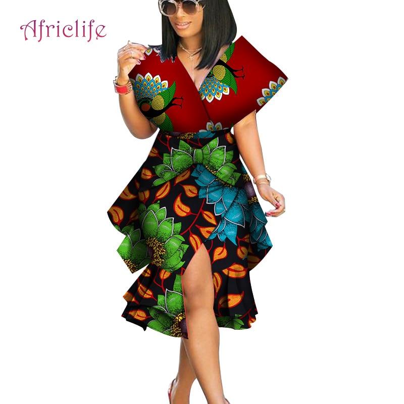 African Skirt Suits Dashiki for Women Elegant Lady Big Bow Skirt Set Femme Bazin Riche Cotton Set Plus Size Two Pieces WY4230