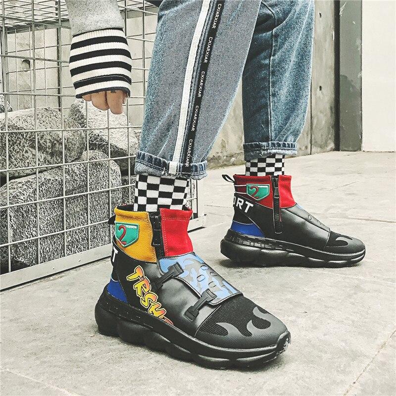 Bottes Noir Chaussures blue Zipper Casual Luxe Bleu Marque Thestron Shoes Top Boots Designer Mode De Masculine High Cheville Hommes Black dnxXqI