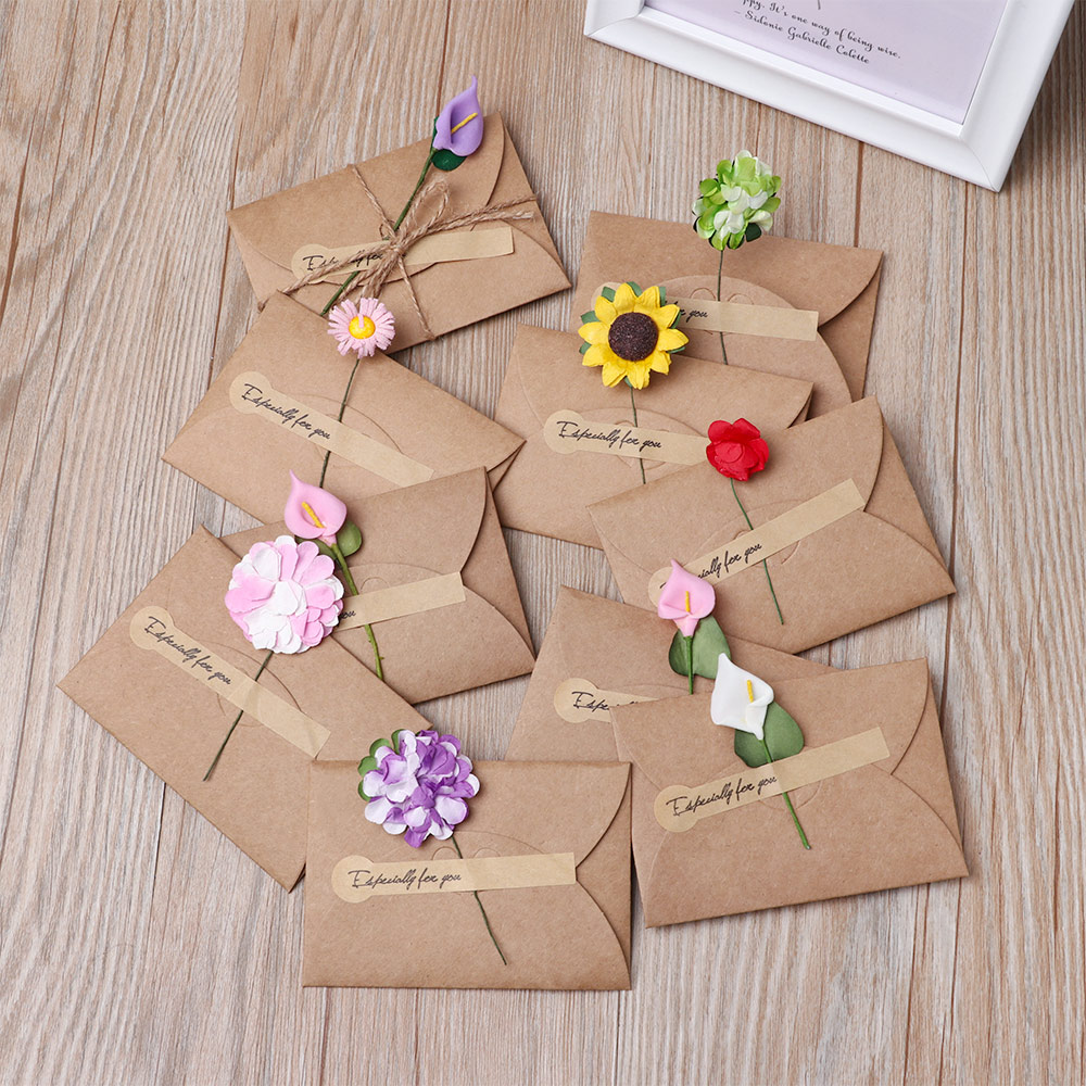 3/5Pcs Vintage DIY Kraft Paper Invitation Greeting Card with Envelope Handmade Dry Flower Wedding Party Invitation