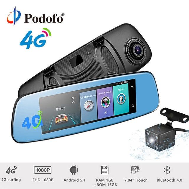 """Podofo 4G Wifi Car DVR 7.84"""" Touch Monitor Android 5.1 Bluetooth Dash Cam ADAS Rear View Camera GPS Navigation 1080P Registrar"""