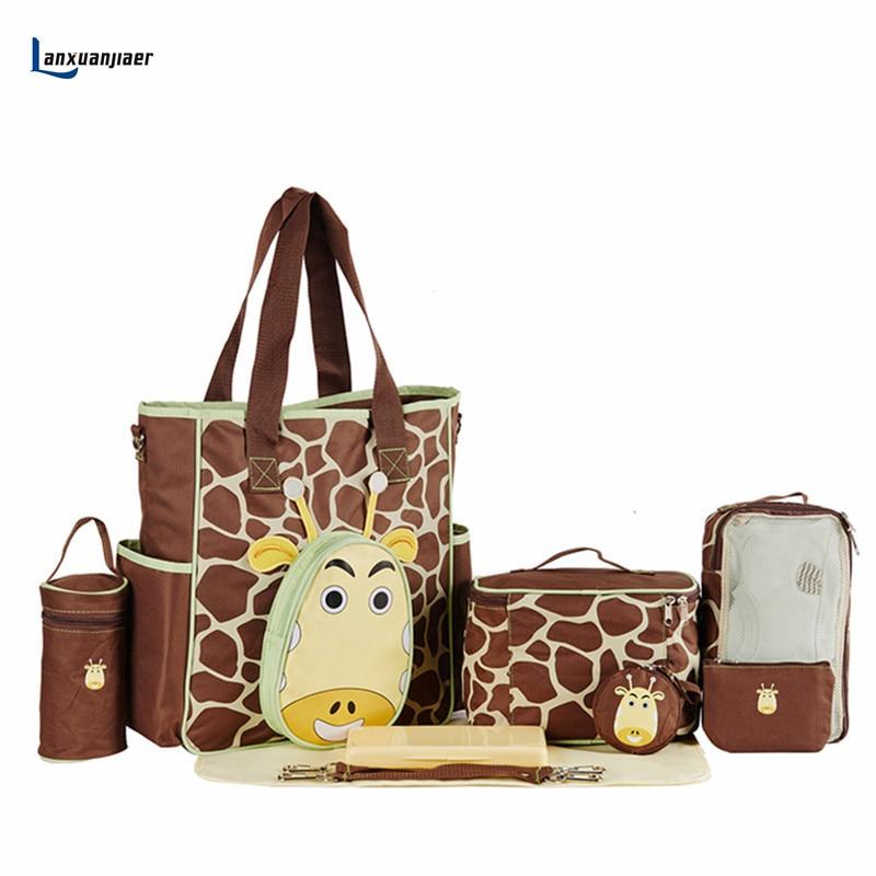 Lanxuanjiaer Baby Diaper Bag Mommy  Multifunctional Mother Travel Nappy Bag Fashion Cartoon Giraffe Nursing Materinty 10pcs Set