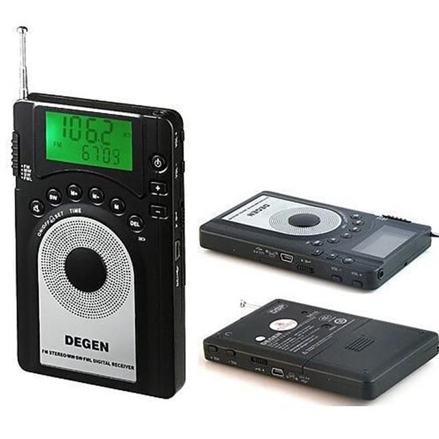DE-15 Original Degen DE15 Radio Portátil radio reloj pantalla Digital Estéreo FM/MW/SW mundial band receptor más nuevo envío gratis