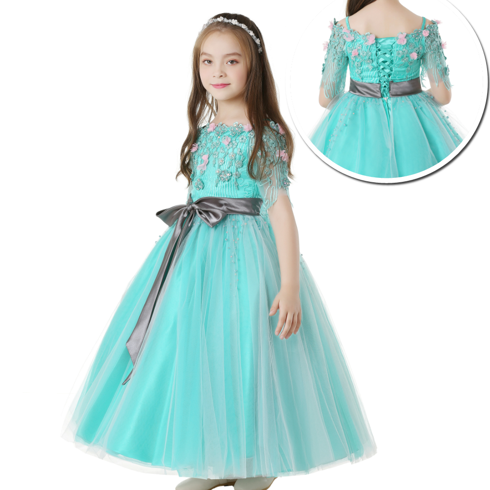 2019 New Style shoulderless Party Dress For 10 12 Years Green Flower Girl Dresses For Weddings Short Sleeves Kids Evening Gowns in Dresses from Mother Kids