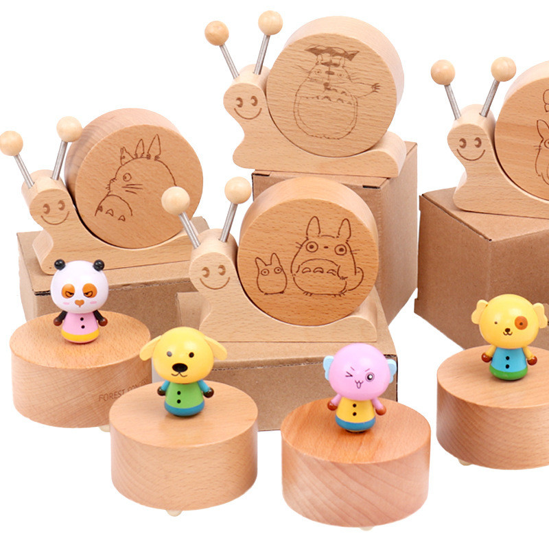 Wooden Cartoon Rotating Music Box Snail Shape Musical Boxes Wooden Toys For Children Kids Household Decoration Wood Craft