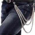 """10mm 3 Capas de Metal de Plata Biker Camionero Cartera Llavero Gruesa Jeans Cintura Cadena del Encintado Cubana (24 """") Hip Hop Pantalones Cadena KB26"""