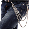"10mm 3 Layers Silver Metal Biker Trucker Wallet Keychain Thick Cuban Curb Jeans Waist Chain (24"")  Hip Hop Trousers  Chain KB26"