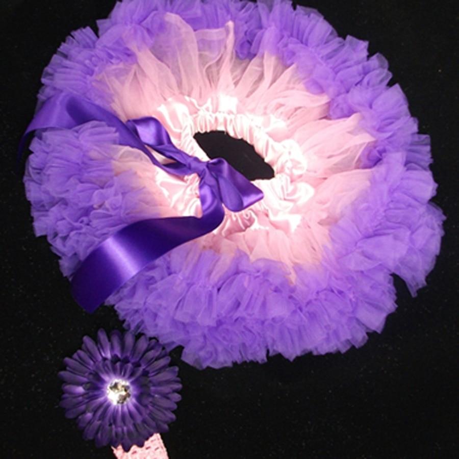 Baby Tutu Light Pink Purple Baby Skirt Flower Headband Set