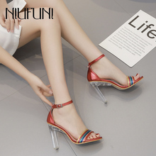 Fashion Crystal With Transparent Thick High Heels Peep Toe Sandals Female 2019 Summer New Arrival Color Striped Womens Shoes