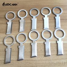 10PCS/LOT EDC GEAR Pocket Knife flint and steel Outdoor camping survival tools Camping Military Sharp Eye Silver