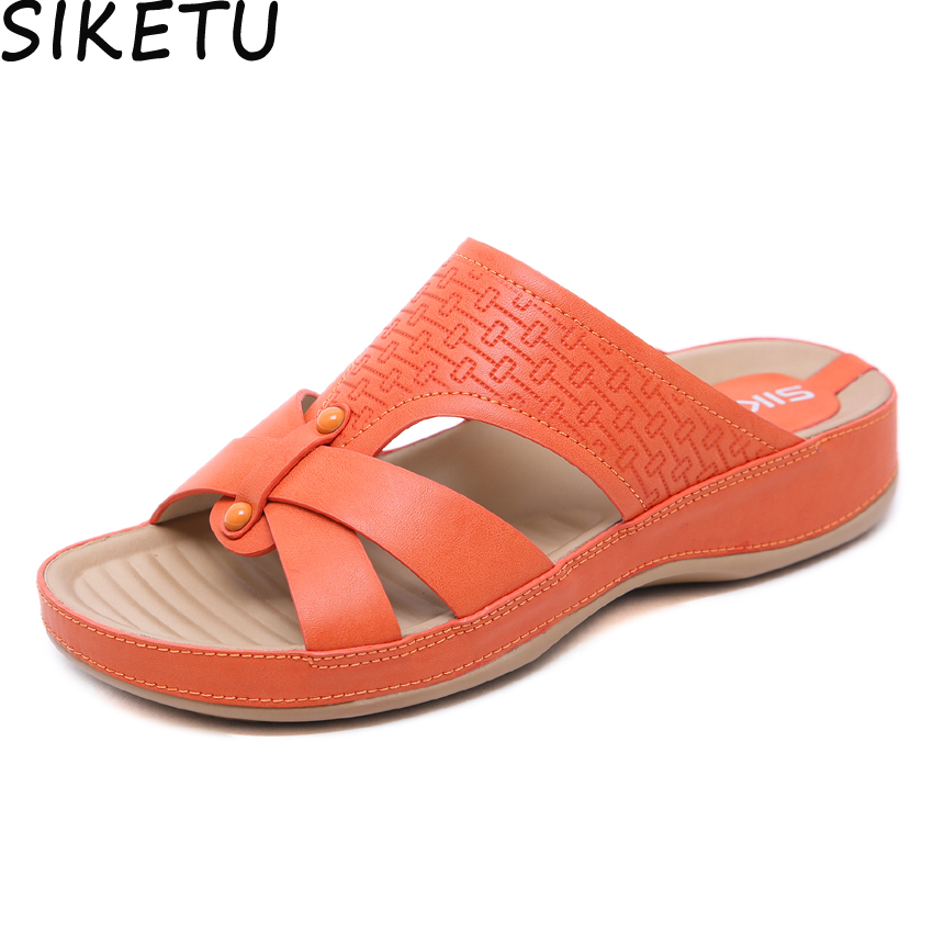 SIKETU Summer Shoes Wedge-Heel-Shoes Mules Platform Slides Open-Toe Comfort Plus-Size