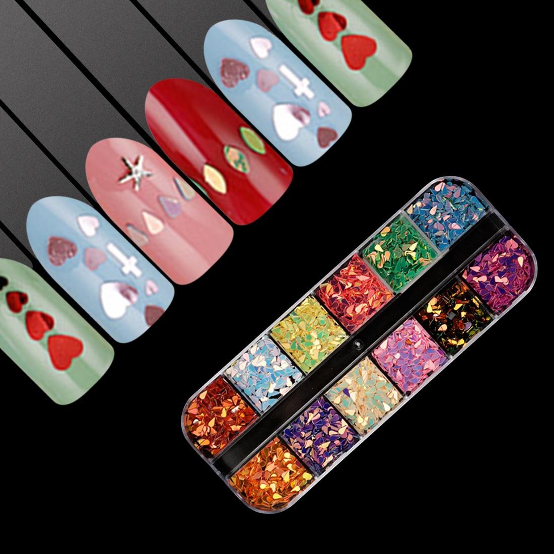 Nagel Glitter Pailletten 1 Fall 12 Grids Diy Kit Hourse Auge Waterdrop Herz Kreuz Caviar Paillette 3d Flakes Nail Art Dekoration Angenehme SüßE Nagelglitzer
