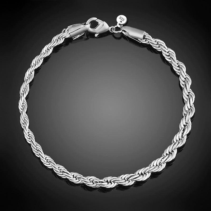 4MM Wide Twisted Chain Silver Plated Bracelets & Bangles For Women Silver Link Chain Bracelet Female Wedding Accessories broad paracord