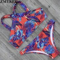 ZMTREE 2017 Bikini Swimwer Women Swimsuit Bikini Set Sexy High Neck Brazilian Biquini Bathing Suit Push