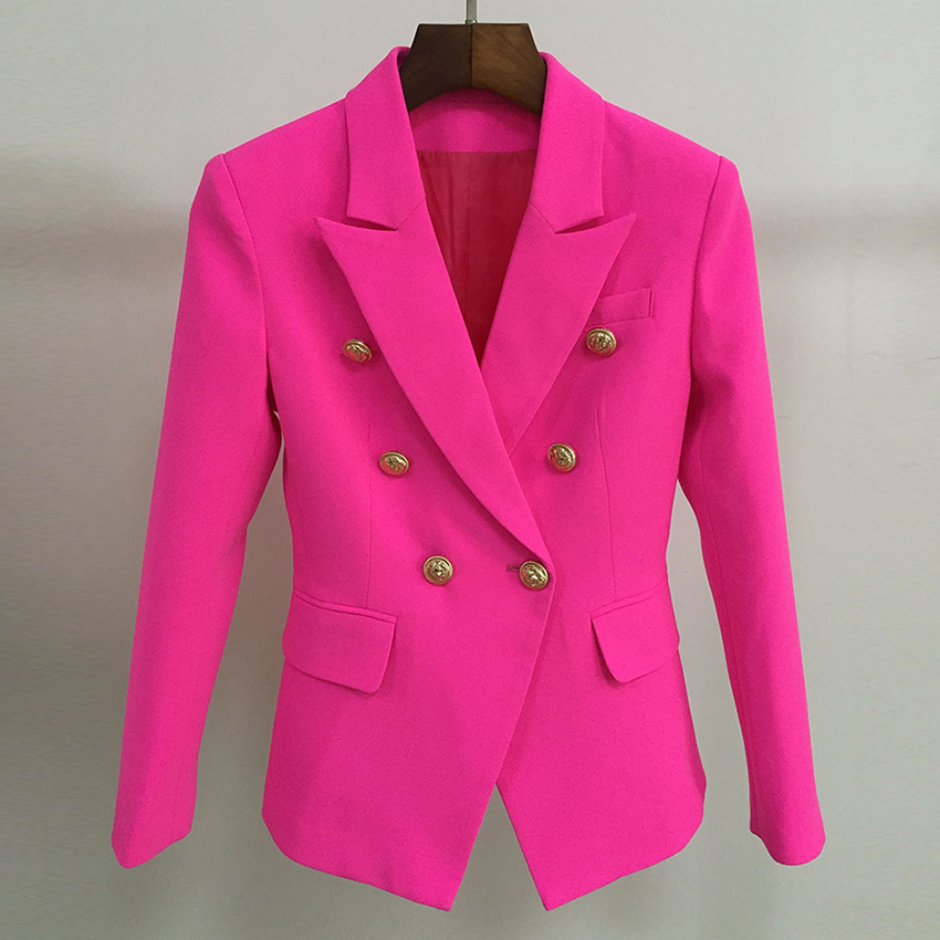 Top Quality S-XXL Fushia Blazer Women Office Ladies Gold Double Breasted Buttons Rose Pink Autumn Winter New Fashion Blazers