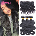4 Bundle Body Wave Brazilian Hair with Frontal Closure with Baby Hair Ms Lula 7A Virgin Brazilian Human Hair Weaves with Closure