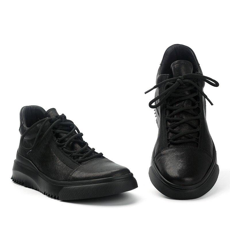 Homme décontracté chaussures en cuir de haute qualité bout rond à lacets chaussures en cuir véritable marque de luxe hommes printemps mode doux noir chaussures - 2