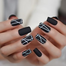 Medium Long Matte Simple Artificial Nail Flat Black Designed Fake Nails Geometric White Daily Nail Art 24CT(China)