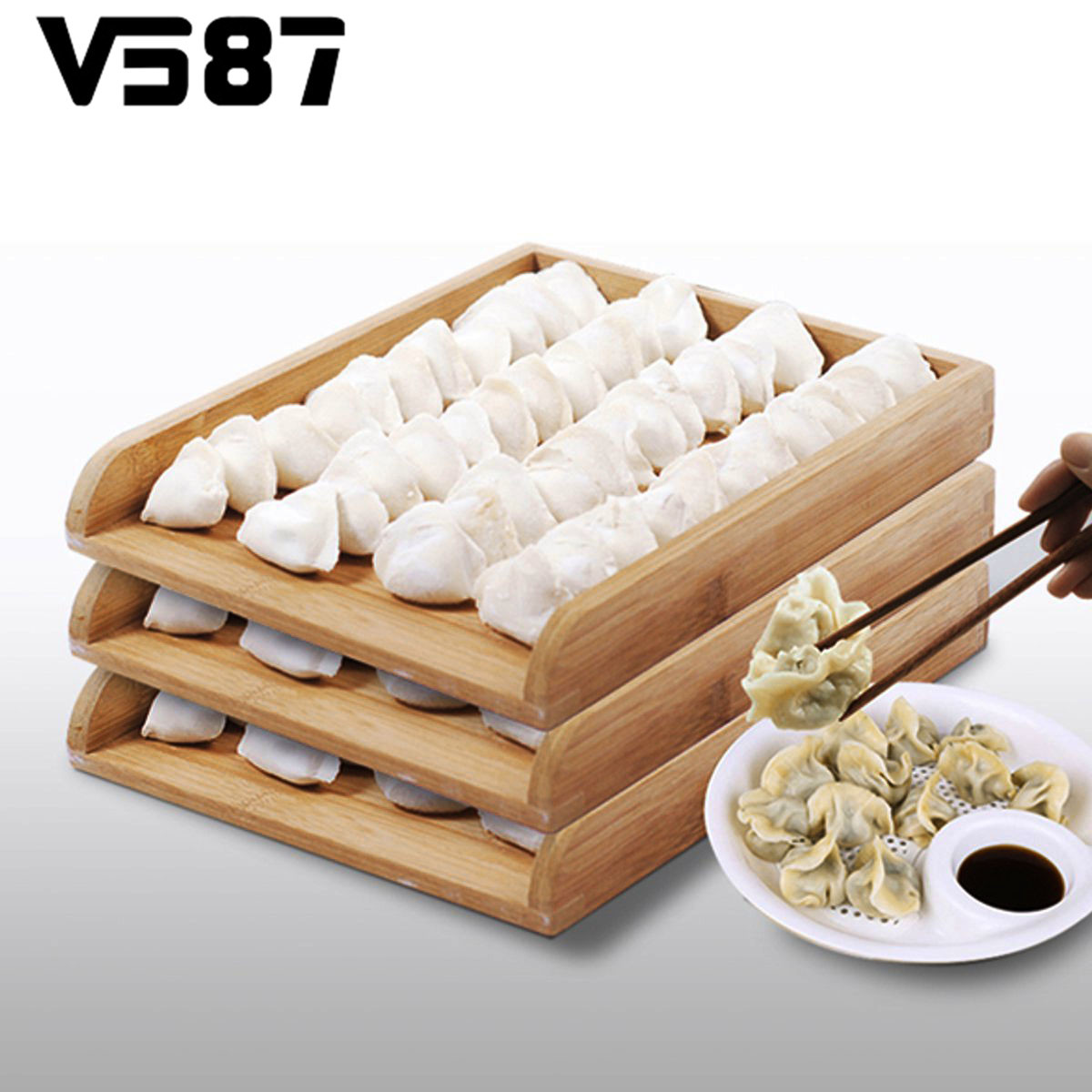 Buy wooden dumplings tray superpose food for Cuisine wooden