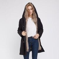JAZYV 2018 Top Quality split fur collar thickness fur lined women winter furs clothes black long parka ins photo new design