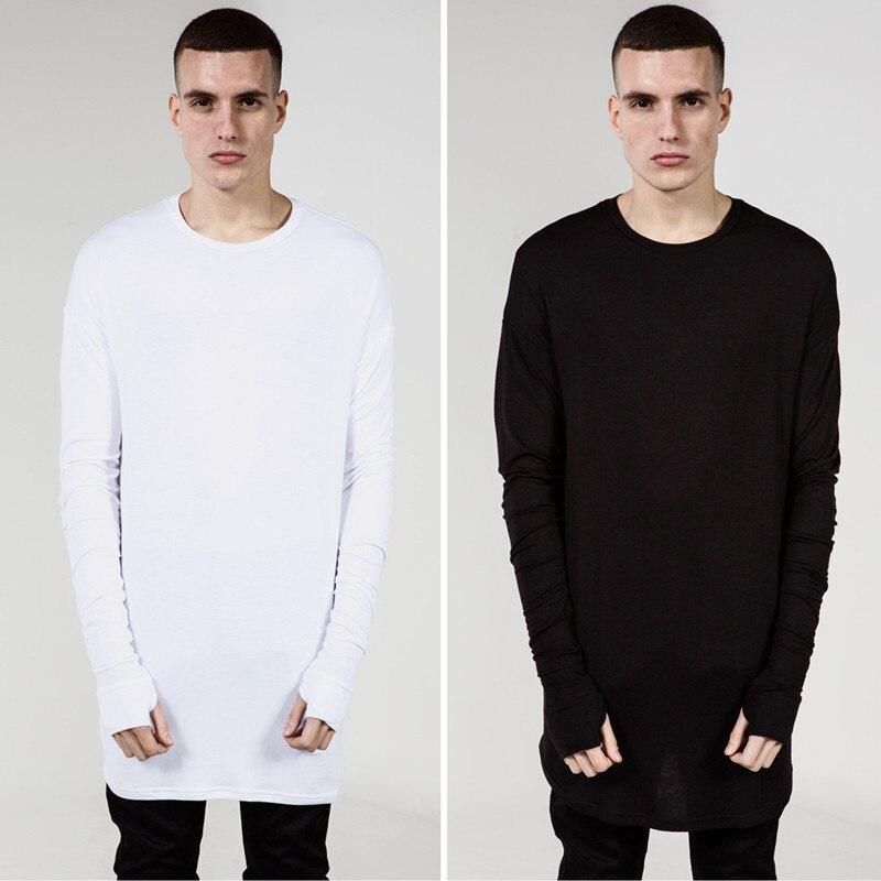 Extend Hip Hop T Shirt Men High Low Side Thumb Hole Split TShirt Long Sleeve Tyga Swag Man T-Shirt Crew Neck Clothes